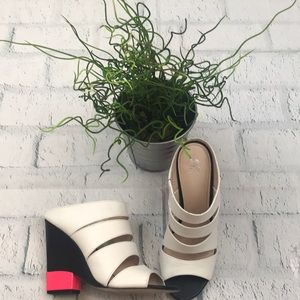 Shoes - White and Black with neon Pink Wedges
